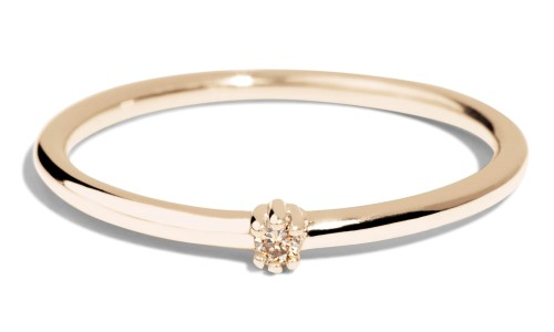 Lash Mini Champagne Diamond Ring in 14kt Yellow Gold