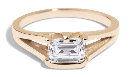 Myrtle .50ct Diamond Emerald Cut Ring in 14kt Yellow Gold