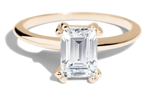 Ray Diamond Emerald Cut Ring in 14kt Yellow Gold