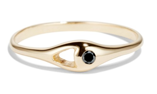 Aira Mini .02ct Black Diamond Ring in 14kt Yellow Gold