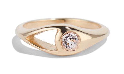 Aira 4mm Morganite Ring in 14kt Yellow Gold