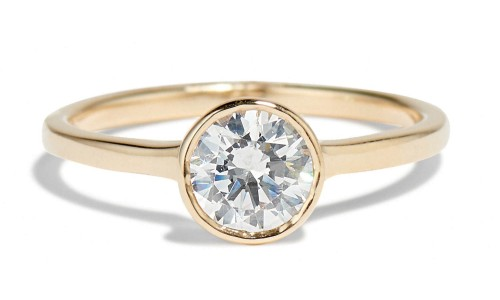 Allium 1ct Diamond Ring with Notch in 14kt Yellow Gold
