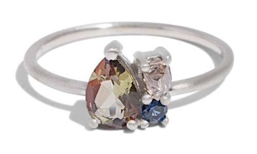 Custom Charta Cluster 7x5mm Andalusite, Rough Diamond and Blue Sapphire Ring