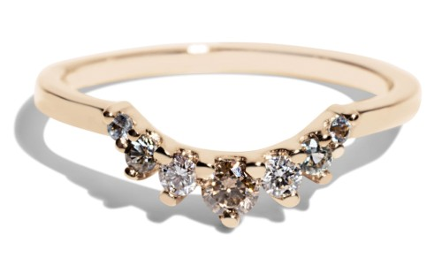 Arco Curved Champagne Diamond with Blue Green Sapphire Ombre Band in 14kt Yellow Gold
