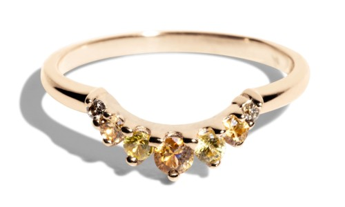 Arco Curved Champagne Diamond with Apricot and Yellow Sapphire Ombré Band in 14kt Yellow Gold