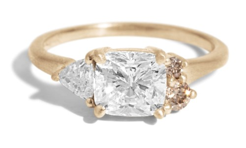 Custom Avens Asymmetrical 1ct Cushion with Trillion Diamond Ring