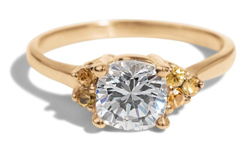 Avens Asymmetrical Diamond Cushion with Yellow Sapphire Ombre Ring in 14kt Yellow Gold