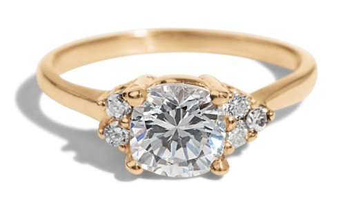Avens Asymmetrical Diamond Cushion Ring in 14kt Yellow Gold