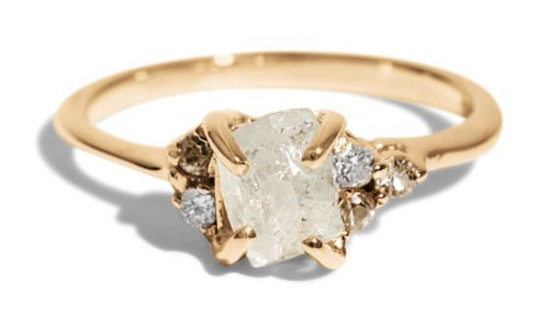 Avens Asymmetrical Raw Diamond with Champagne Ombré Ring in 14kt Yellow Gold