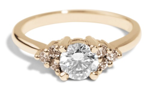 Avens Symmetrical White Sapphire with Champagne Diamond Ombré Ring in 14kt Yellow Gold