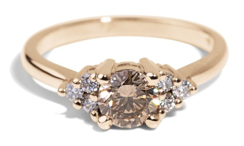 Avens Symmetrical Champagne Diamond Ring in 14kt Yellow Gold