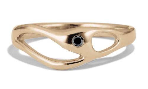 Bend Black Diamond Ring in 14kt Yellow Gold