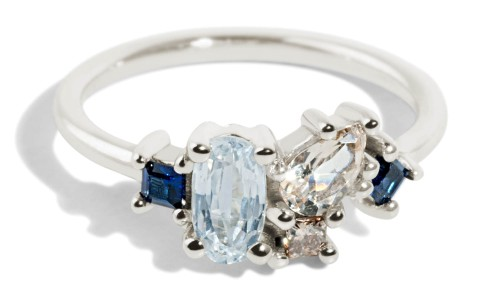 Custom Eaves Cluster White Sapphire, Morganite, Blue Sapphire and Champagne Diamond Ring
