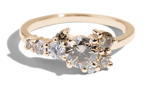 Burst Cluster Champagne Diamond Ombré Ring in 14kt Yellow Gold