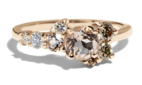 Burst Cluster Morganite with Diamond Ombré Ring in 14kt Yellow Gold
