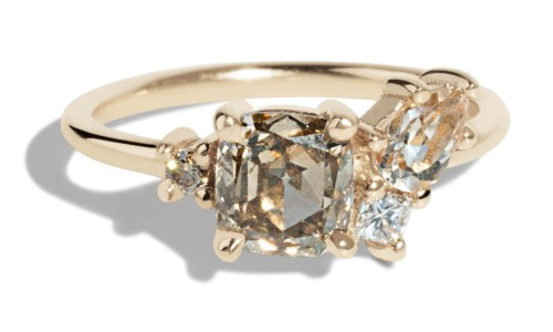 Custom Eaves Cluster Champagne Diamond and Morganite Ring