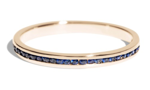Channel Blue Sapphire Narrow Band in 14kt Yellow Gold