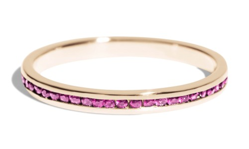 Channel Fuchsia Sapphire Narrow Band in 14kt Yellow Gold