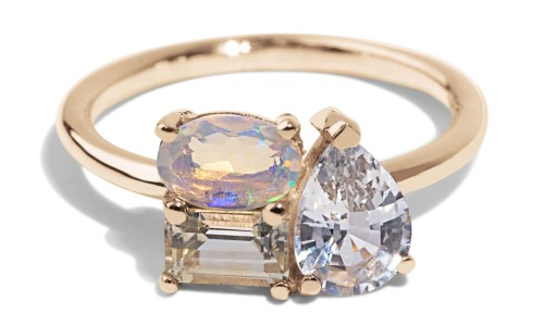 Charta Cluster Sapphire with Opal Ring in 14kt Yellow Gold