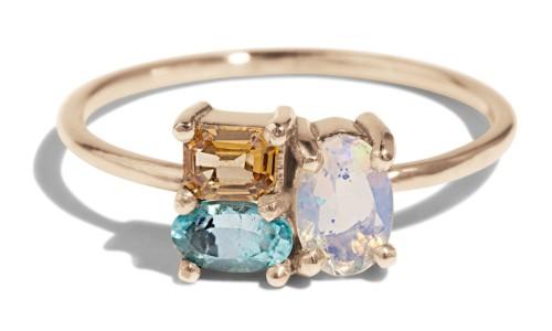 Custom Charta Cluster Opal, Paraiba and Apricot Sapphire Ring