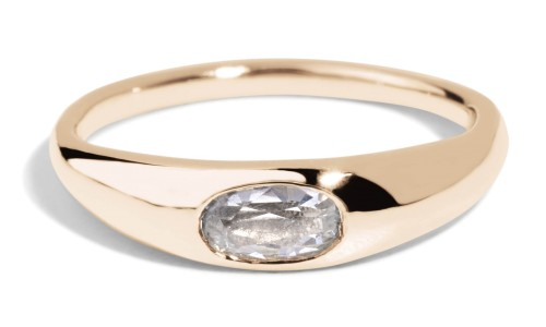 Crescent White Sapphire Oval Ring in 14kt Yellow Gold