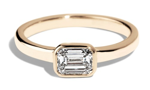 Custom .5ct Bezel Set Emerald Cut Diamond Ring