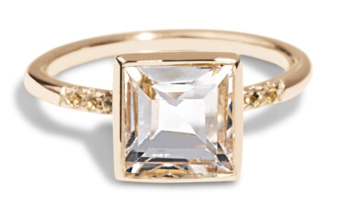 Custom Princess 7mm Topaz Solitaire Ring in 18kt Yellow Gold