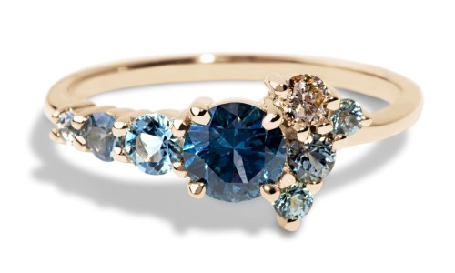 Custom 5mm Blue-Green Sapphire Cluster Ring in 18kt Yellow Gold