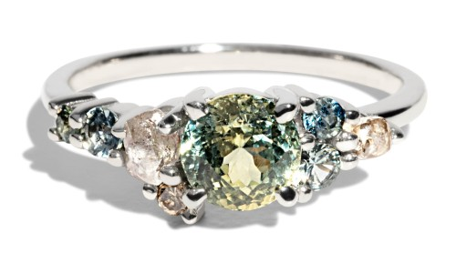 Custom 5.67mm Bi-color Sapphire Cluster Ring with Rough Diamonds, Sea Foam Sapphires, and Champagne Diamonds