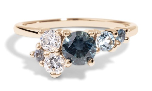 Custom 6mm Blue-Green Sapphire Cluster Ring in 14kt Yellow Gold
