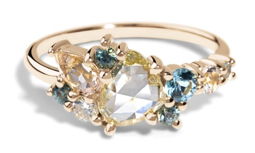 Custom .50ct Rose Cut Diamond Cluster Ring in 18kt Yellow Gold