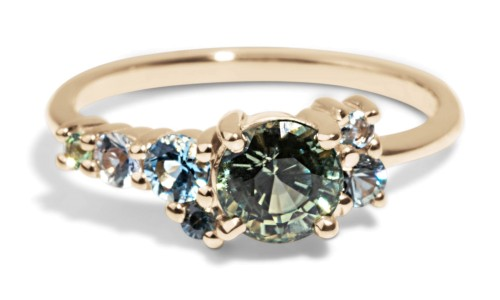 Custom 5.5mm Green Sapphire Cluster Ring in 14kt Yellow Gold