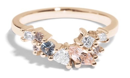 Custom Morganite, Diamond and Sapphire Cluster Band in 14kt Yellow Gold