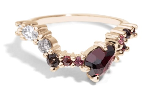 Custom Cluster Hex Linea Diamond with Garnet Band in 14kt Yellow Gold