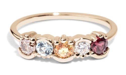 Custom Diamond, Garnet, and Sapphire Lash Linear Ring in 14kt Yellow Gold