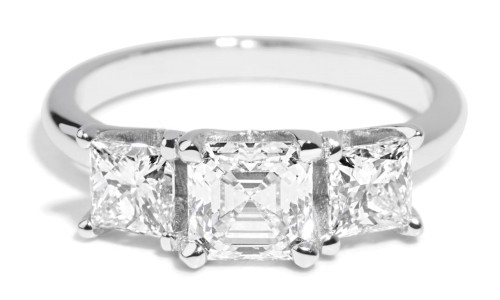 Custom 1.07ct Asscher with Princess Diamonds Ring in 14kt White Gold
