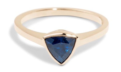 Custom 6mm Trillion Blue Sapphire Solitaire Ring in 14kt Yellow Gold