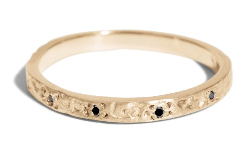 Dais Black Diamond Narrow Band in 14kt Yellow Gold