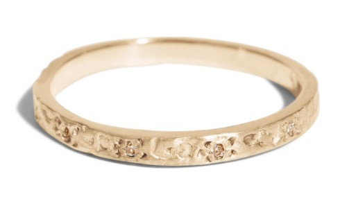 Dais Champagne Diamond Narrow Band in 14kt Yellow Gold
