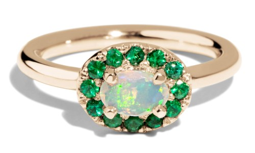 Dasha 6mm x 4mm Opal with Emerald Halo Ring in 14kt Yellow Gold