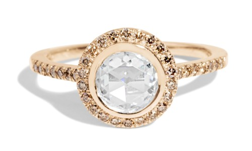 Soma Rose Cut .38ct Diamond with Champagne Halo Ring in 14kt Yellow Gold