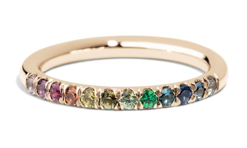 Dez Half Eternity Round Rainbow Band in 14kt Yellow Gold