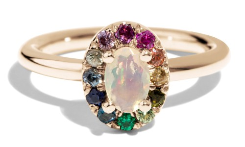Dez 6mm x 4mm Opal with Rainbow Halo Ring in 14kt Yellow Gold