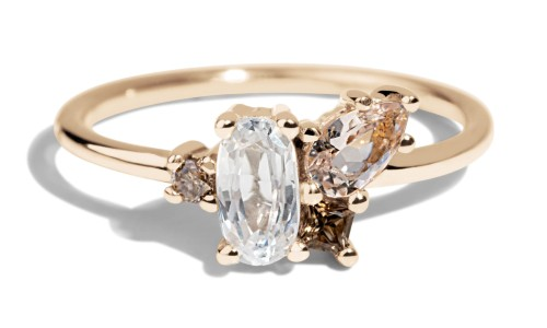 Eaves Cluster White Sapphire Oval with Morganite Ring in 14kt Yellow Gold