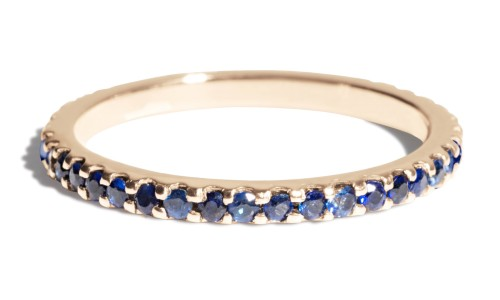 Eternity Blue Sapphire Band in 14kt Yellow Gold