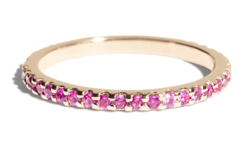 Eternity Fuchsia Sapphire Band in 14kt Yellow Gold