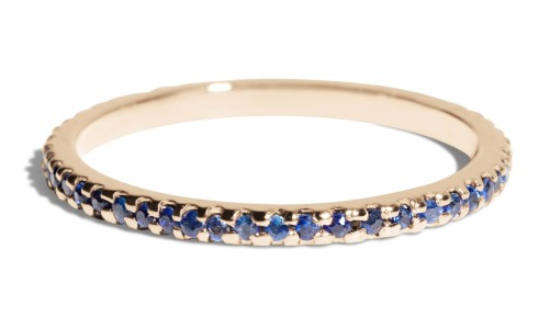 Eternity Blue Sapphire Narrow Band in 14kt Yellow Gold