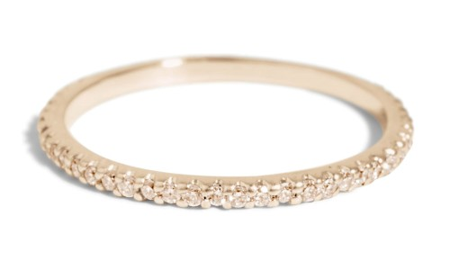 Eternity Champagne Diamond Narrow Band in 14kt Yellow Gold
