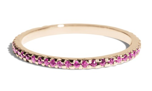 Eternity Fuchsia Sapphire Narrow Band in 14kt Yellow Gold