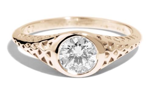 Filigree .50ct Diamond Ring in 14kt Yellow Gold